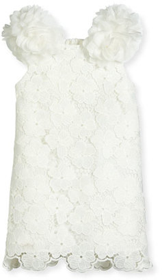 Charabia Sleeveless Floral Lace Pompom Dress, White, Size 10-12 $230 thestylecure.com