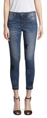 Miss Me Star-Embroidered Cropped Skinny Jeans