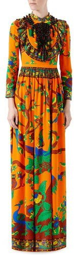Gucci Gucci Jubilee-Print Silk Gown, Orange