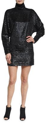 McQ Alexander McQueen Sequin Turtleneck Dress, Black $530 thestylecure.com
