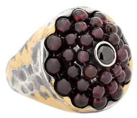 Bottega Veneta Sterling silver and 24kt gold ring with cubic zirconia and garnet