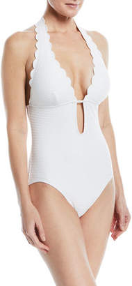 Kate Spade Halter Plunging Textured One-Piece Swimsuit