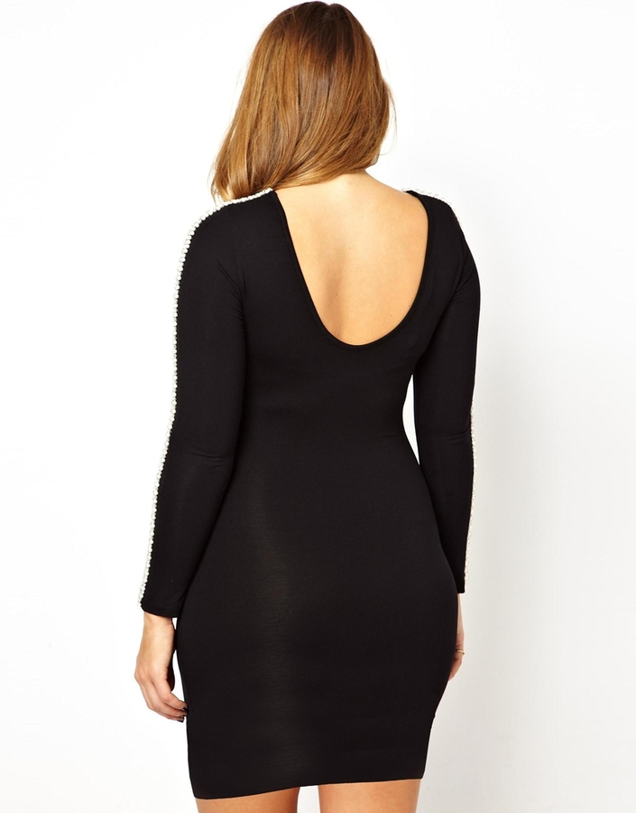 Asos Body-Conscious Dress With Embellished Sleeve