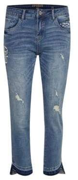 Cream Cara Ripped Cropped Jeans