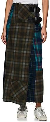 Needles Women's Patchwork Plaid Wool Wrap Skirt