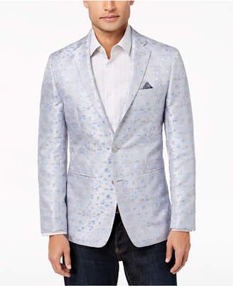Tallia Orange Men's Modern-Fit Silver Plaid Floral Dinner Jacket