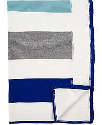 Arabella Rani Striped Cashmere Baby Blanket-Blue
