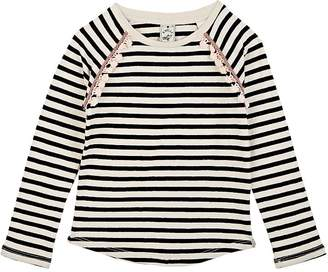Scotch R'Belle KIDS' TASSEL-TRIMMED STRIPED COTTON-LINEN T-SHIRT