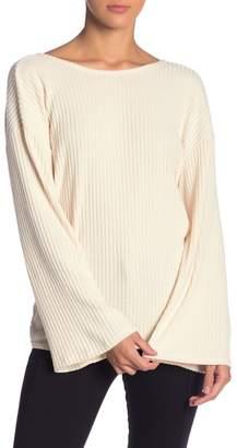 Lush Back Twist Ribbed Knit Sweater