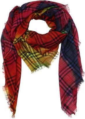 Burberry Rainbow Check Wool & Silk Scarf