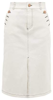 See by Chloe Topstitched Stretch Denim Skirt - Womens - Ivory