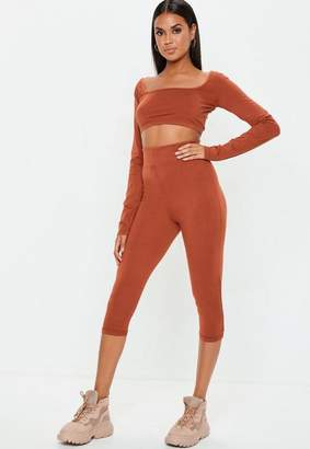 Missguided Rust Cropped Leggings