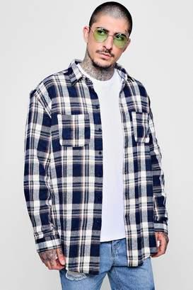boohoo Oversized Drop Shoulder Check Shirt