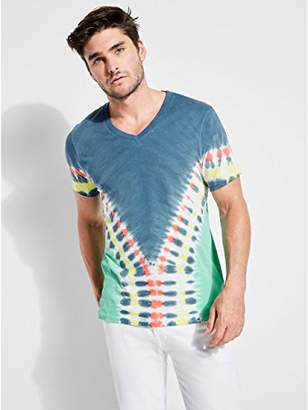 GUESS Men's Short Sleeve Basic Trip Tie Dye V Neck T-Shirt