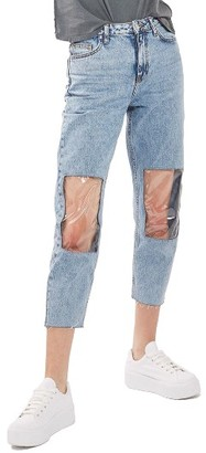 Women's Topshop Clear Knee Mom Jeans $95 thestylecure.com