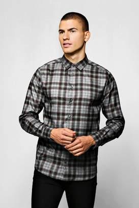 boohoo Grey Check Long Sleeve Shirt