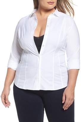 Marina Rinaldi ASHLEY GRAHAM X Beauty Poplin Button Down Shirt (Regular & Plus Size)
