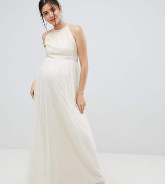 Little Mistress Maternity sequin high neck maxi dress in cream