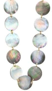 Nest Long Grey Mother-of-Pearl Disc Necklace