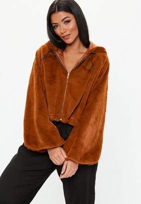 Missguided Toffee Balloon Sleeve Faux Fur Coat, Rust
