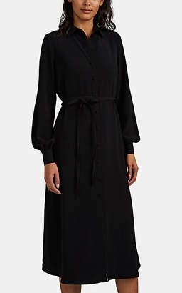 Co Women's Satin-Back Crepe Belted Shirtdress - Black