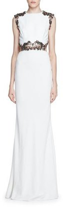 Alexander McQueen Embellished Open-Back Column Gown, Ivory $8,895 thestylecure.com
