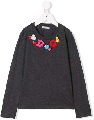 Dolce & Gabbana bead logo embroidered top