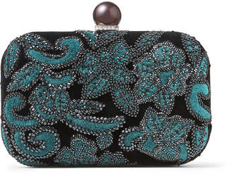 Jimmy Choo CLOUD Black Velvet Clutch Bag with Floral Bead Embroidery