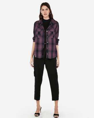 Express Plaid Button-Up Utility Pocket Shirt