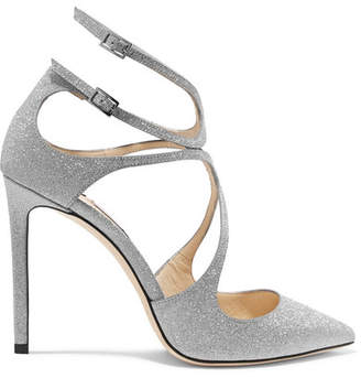 Jimmy Choo Lancer 100 Glittered Leather Pumps - Silver