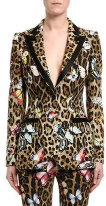 Dolce & Gabbana Leopard & Butterfly-Print Cady Jacket