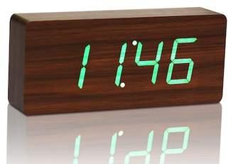 GINGKO Slab Click Clock - Walnut/Green LED