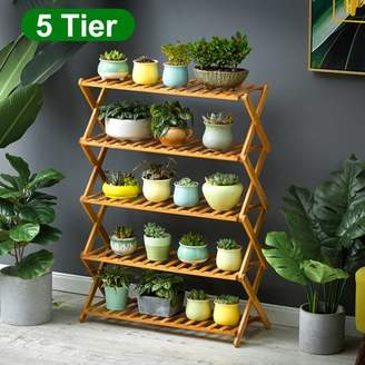 Kadell [Easy Installation] 68CM Long Multi-Tier Adjustable Foldable Wooden Plant Flower Stand Plant Shelf Standing Flower Shelf Flower Pots Rack Display for Indoor Outdoor Use