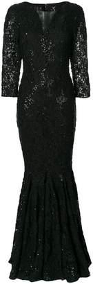 Talbot Runhof long crochet V-neck dress