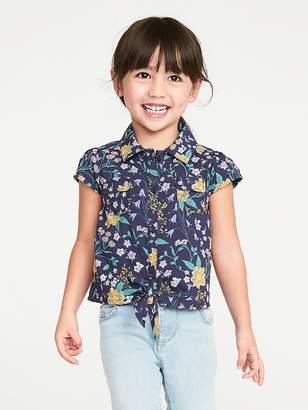 Old Navy Floral-Print Tie-Hem Shirt for Toddler Girls