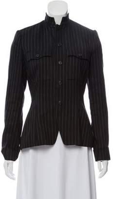 Ralph Lauren Pin-Striped Silk and Wool Blend Blazer Black Pin-Striped Silk and Wool Blend Blazer