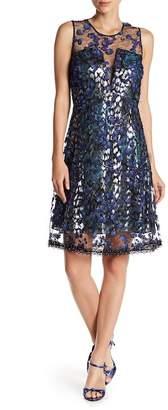 Elie Tahari Olive Floral Metallic Mesh Dress