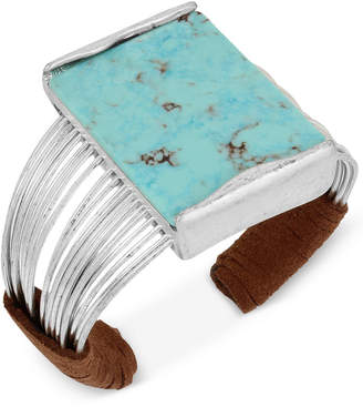 Robert Lee Morris Soho Silver-Tone Turquoise-Look Suede-Wrapped Cuff Bracelet