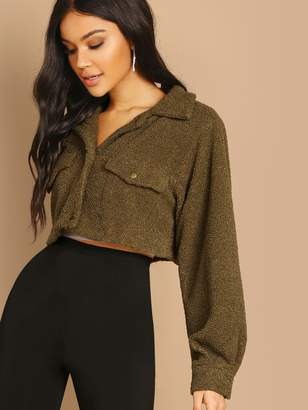 Shein Solid Crop Teddy Jacket