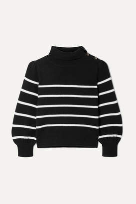 Co Button-detailed Striped Wool And Cashmere-blend Sweater - Black