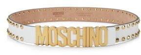 Moschino White Studded Logo Belt
