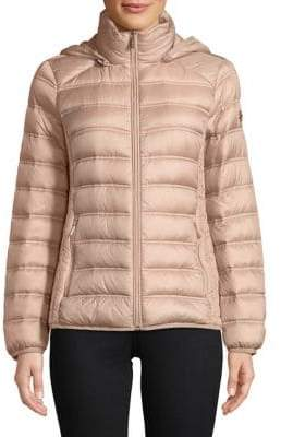 "MICHAEL Michael Kors THE COAT EDIT 25"" Short Packable Champagne Jacket"