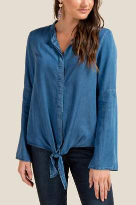 francesca's Tatum Button Down Tie Front Top - Indigo