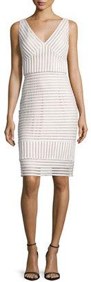 Jovani V-Neck Striped Sheath Dress, Ivory/Nude $560 thestylecure.com