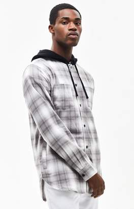 PacSun Ombre Hooded Plaid Flannel Shirt
