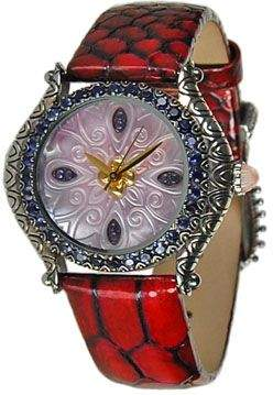 Mother of Pearl Barbara Bixby Carved Mother-Of-Pearl Dial Leather Strap Watch
