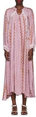 Natalie Martin Women's Fiore Zigzag-Print Silk Maxi Dress