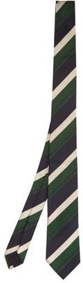 Gucci Schoolboy Stripe Logo Jacquard Silk Tie - Mens - Green Multi