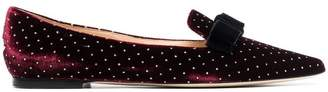 Jimmy Choo red gala bow and crystal embellished velvet flats