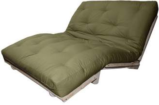 LOFT Comfort Style Lounger All Cotton 8-inch All Cotton Filled Sit, Lounge, or Sleep Futon Sofa Sleeper Bed, Full, Unfinished, Suede Olive Green